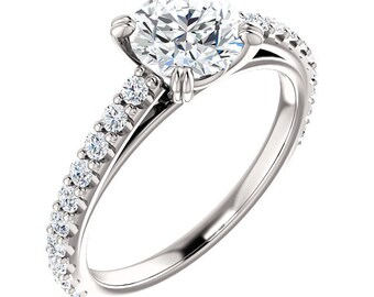 1 CT Forever One (GHI) Moissanite Solid 14K White Gold Diamond Halo Engagement  Ring   - ST233107