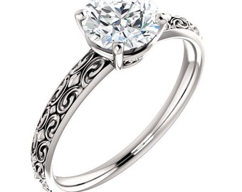 Victoria Vintage-Style Solitaire Ring Forever One Moissanite Colorless Solitaire  Engagement Ring in 14K White Gold ST82729