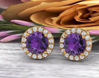Natural Diamond & Purple Amethyst Halo Stud Earrings In 14K White/Yellow, Birthday Stud Earrings  G166