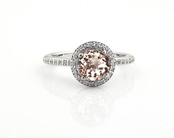 1 ct 7mm Natural Round Morganite  Solid 14K White Gold Diamond Engagement Halo  Ring-Gem828