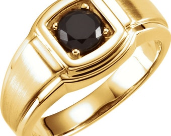 1 Ct Men's Black Diamond Ring (AAAA Black Diamond) In 14k White Or  Yellow Gold  ST0839