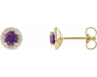 14K Yellow Amethyst & 1/6 CTW Diamond Earrings