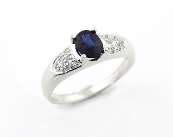 AAA  Natural  blue  Sapphire Solid 14K White Gold Diamond  Ring - Gem790