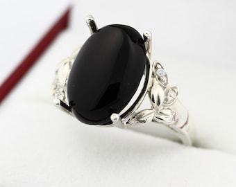 Natural Black Onyx Solid 14K White Gold Diamond Ring