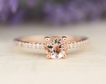 AAA Morganite Engagement Ring In 14k Rose Gold  Gem1403-R