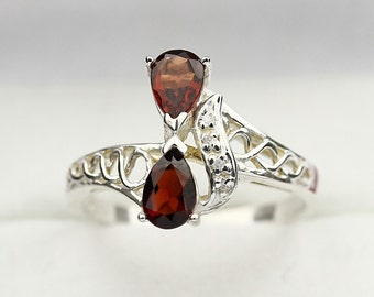 Natural 1ct Rhodolite  Garnet Solid 14K White Gold Diamond Ring