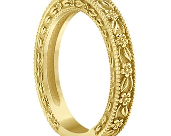 Carved Floral Designed Wedding Band  14k Yellow    Gold ****Special for you*****-ENS4651