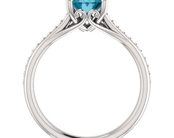 Natural AAA 10x8mm Oval  London blue Topaz  Solid 14K white Gold Diamond Engagement Ring Set-ST82823