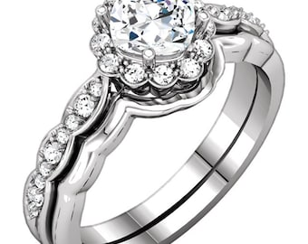 Forever One Moissanite Near Colorless  and Diamond Engagement  ring wedding Set, -ST232600