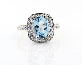 Natural AAA Aquamarine Solid 14K White Gold Diamond  Engagement Ring Gem586