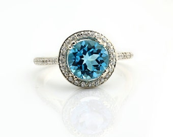 Natural AAA  8mm Round Swiss blue Topaz Solid 14K White Gold Diamond engagement  Halo Ring - Gem839- ON SALE!!!!!