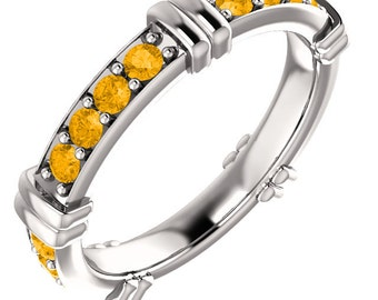 14kt White Gold  AAA 2mm Round Natural Citrine  Eternity Band  Full  Eternity Wedding Band Ring Aniversary Ring  ST233412
