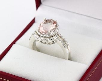 Natural 10x8mm AAA  Morganite Solid 14K White Gold Diamond engagement Halo Ring  Bridal set