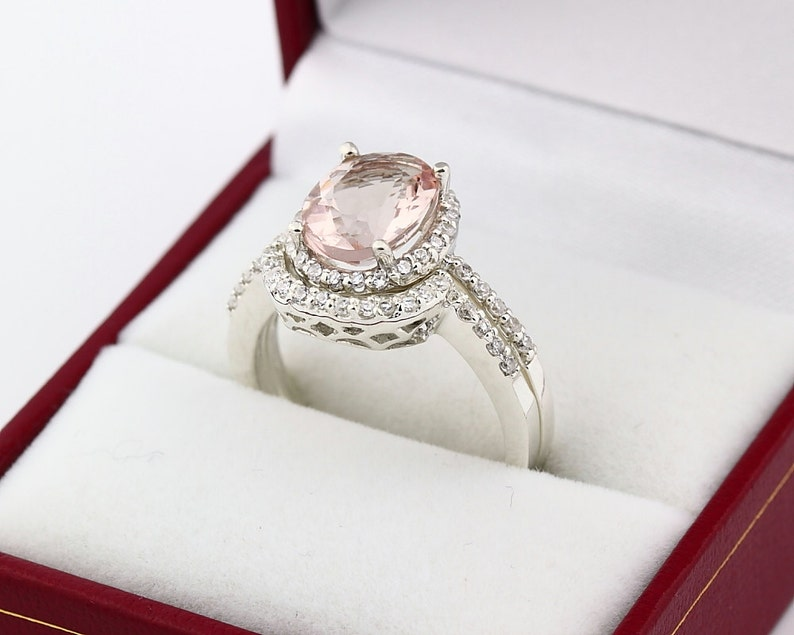 Natural 10x8mm AAA  Morganite Solid 14K White Gold Diamond image 0