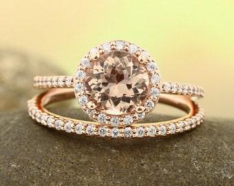 Natural Morganite Ring Set, Diamond Halo Morganite Engagement Ring Band Set, Roes gold, 7mm gemstone - Gem1203