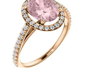 Natural 9x7mm  AAA Fancy Pink Morganite  Solid 14K Rose Gold Diamond engagement  Halo Ring Set - Gem824
