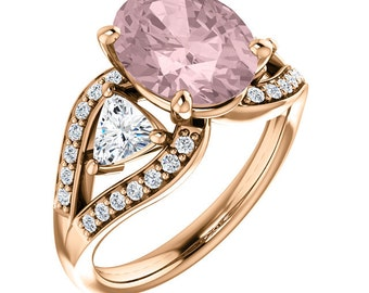 Natural AAA 10x8mm Oval  Morganite  Solid 14K Rose  Gold Diamond Engagement Ring Set-ST82690