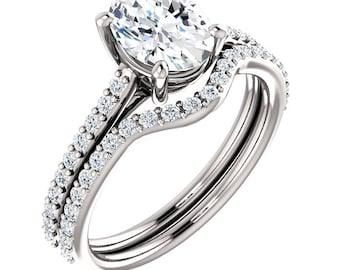 Certified Forever One  Moissanite Oval  8x6mm 14K White Gold Engagement Ring Set, Bridal Set - ST82710