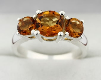 3 stones 2.10 cts  Golden  Yellow Citrine Solid 14K White Gold Ring