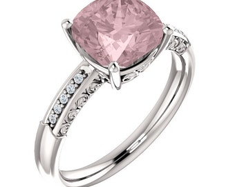 Natural AAA 8mm Antique Cushion Cut Morganite  Solid 14K White Gold Diamond Engagement Ring Set-ST233444