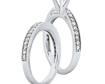 1 carat 6.5mm Round Forever One (GHI) Moissanite Solid 14K White Gold Engagement  Ring set ENS4171