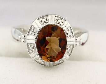 Natural Stunning  Brown Topaz Solid 14K White Gold solitaire Ring