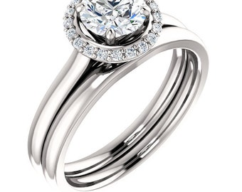 Certified center Natural White Sapphire Solid  14k white gold diamond Halo Engagement Ring Set ST233171