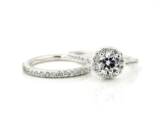 1 carat 6.5mm Round Forever One colorless Moissanite Solid 14K White Gold Diamond Engagement Halo Ring - Gem1471