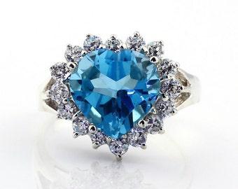 Natural Heart Shape Swiss Blue Topaz  Solid 14K White Gold Diamond engagement Ring-Gem788