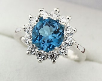 Natural  8MM Swiss Blue Topaz Solid 14K White Gold Ring