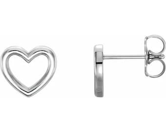 Solid 14k White /Yellow / Rose Gold Heart Shape Stud Earrings