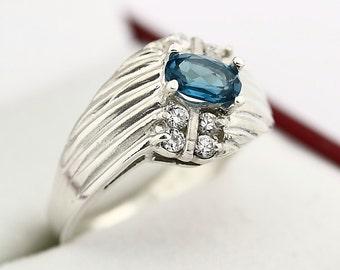 Natural London Blue Topaz Solid 14K White Gold Ring