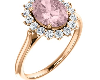 Natural AAA 10x8mm  Pink Morganite  Solid 14K Rose Gold Diamond engagement  Halo Ring - ST82717