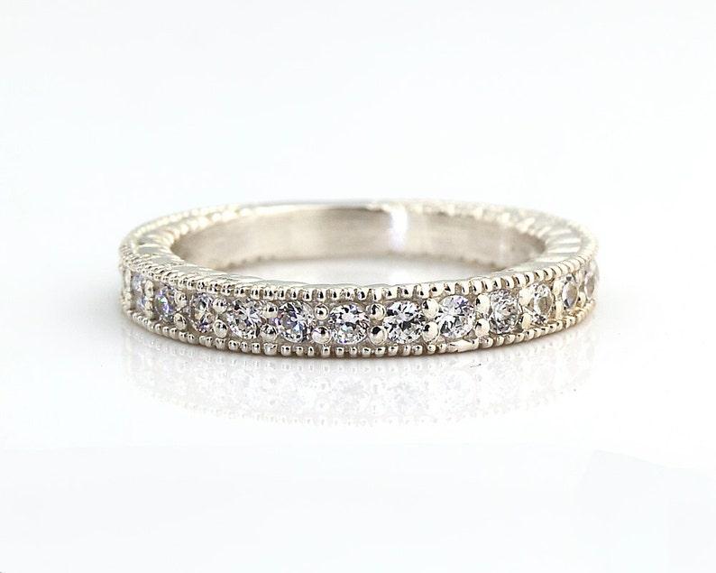 Natural Diamond Antique style Wedding Band Ring 14k White Gold image 0