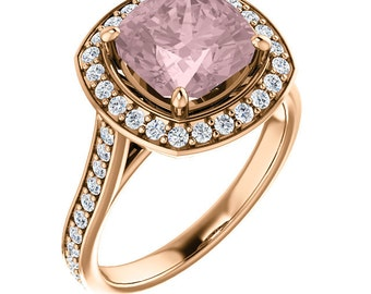 Natural AAA 8mm Cushion Cut Morganite  Solid 14K Rose Gold Diamond halo Engagement Ring Set-ST82782
