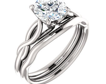 Certified Forever One Moissanite Infinity Engagement Ring Set ,Round Brilliant Cut Diamond Simulant Wedding Ring Set In Solid 14K White Gold