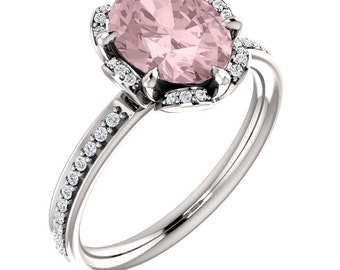 Natural AAA 9x7mm Oval  Morganite  Solid 14K White Gold Floral Inspired Diamond  Engagement Ring Set-ST232008