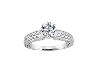 6.5mm White Sapphire  14K White Gold Diamond  Engagement  Ring - antique style - ENR2867