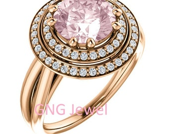 Natural AAA 8mm Round Morganite  Solid 14K rose  Gold Diamond halo Engagement Ring Set-ST82779