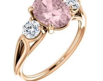 Natural AAA 10x8mm Oval  Morganite  Solid 14K Rose  Gold 3 Stone White Sapphire Engagement Ring -ST233587