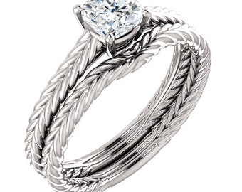 5mm  Forever One (GHI) Moissanite Solid 14K White Gold  Twisted Rope   Engagement  Ring Set  - ST82857