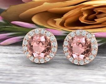 Natural Diamond & Morganite  Halo Stud Earrings In 14K Rose  G166