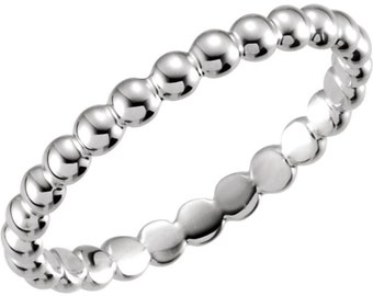 Enterity 14kt White 2.5mm Beaded Stackable Ring ST62101-  On Promotion