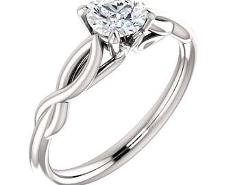 0.5ct Forever One Moissanite  (nearColorless) 14K White Gold Diamond Engagement Ring  - ST233816-1148