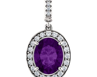"""Natural  10x8mm Oval  Amethyst  Solid 14K White Gold Diamond pendant with 18"""" Cable chain- ST97183"""