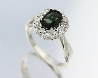 Natural Green Tourmaline Solid 14K White Gold Diamond Ring