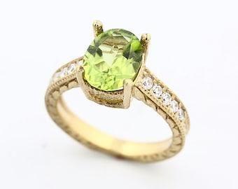 Natural Green Peridot Solid 14K Yellow Gold Diamond Ring