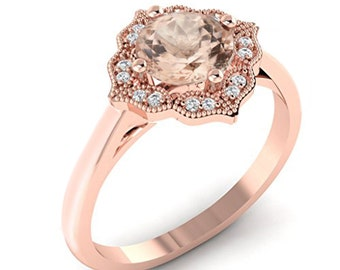Certified Floral Style Natural Morganite and Diamond Halo Engagement Ring in 10K Rose Gold