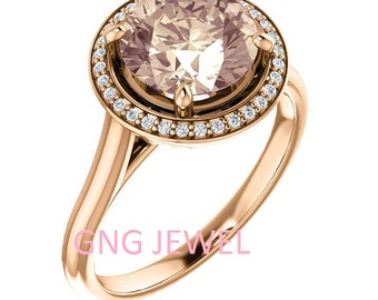 Natural AAA 8mm Round Morganite  Solid 14K rose  Gold Diamond halo Engagement Ring Set-ST82837