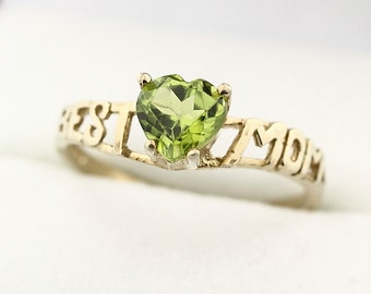 """Natural Green Peridot Solid 14K White Gold """"best mom"""" Ring"""